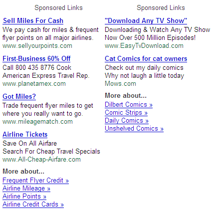 Google Gmail Sponsored Links