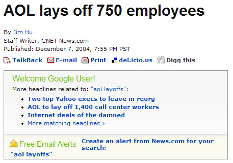 Screen grab from News.com showing alert box