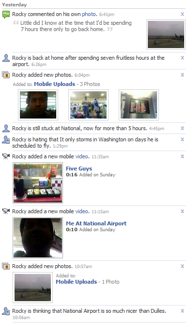 My fruitless trip to DCA, as recorded on Facebook