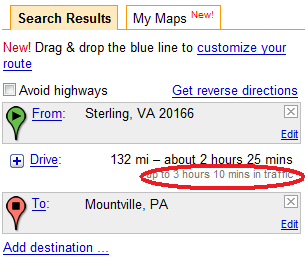 Google Maps shows estimated time in traffic