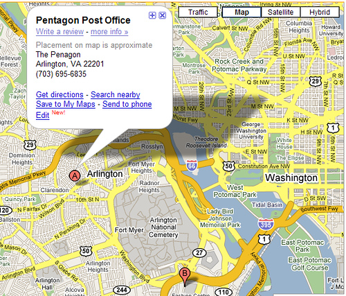 Pentagon Post Office on Google Maps