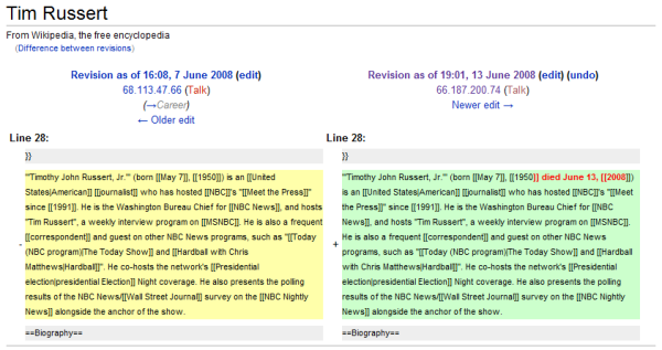 Wikipedia screenshot of Russert\'s entry