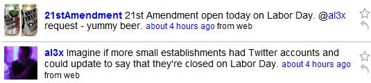 Twitter exchange between Alex Payne and 21st Amendment brewery