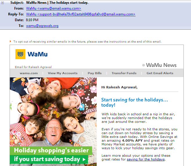 An email received shortly after WaMu was seized by federal regulators.