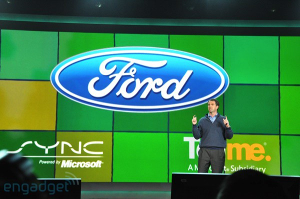 Robbie Bach introduces enhancements to Ford SYNC (photo from Engadget)