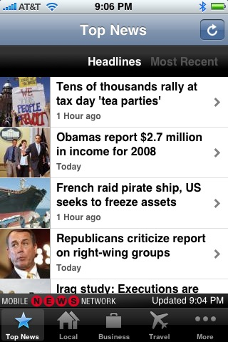 Screenshot of AP's iPhone app