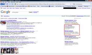 Bing, Yahoo! ads on Michael Jackson results on Google