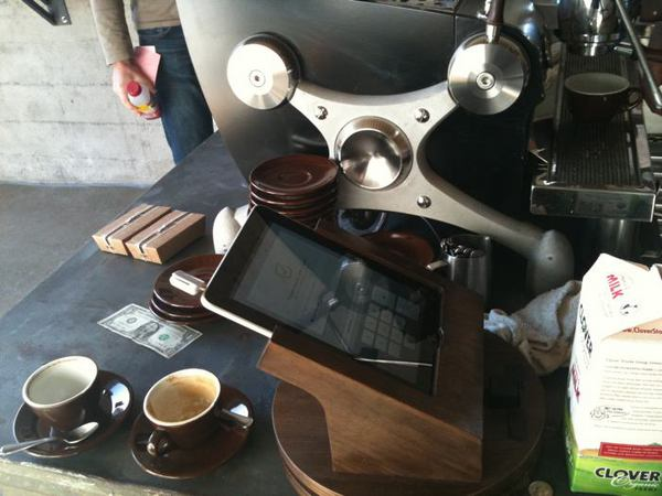 An iPad used in place of a cash register at Sightglass Coffee. Photo courtesy Tony Conrad.