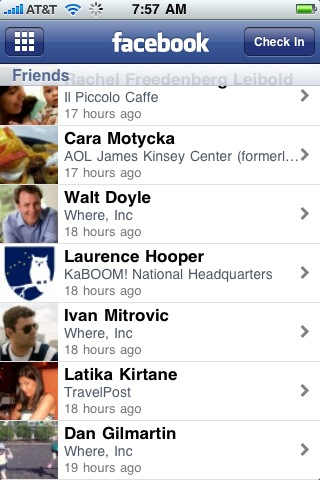 Facebook Places on the iPhone
