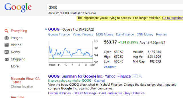 The most prominent spot on this page takes you to Google Finance