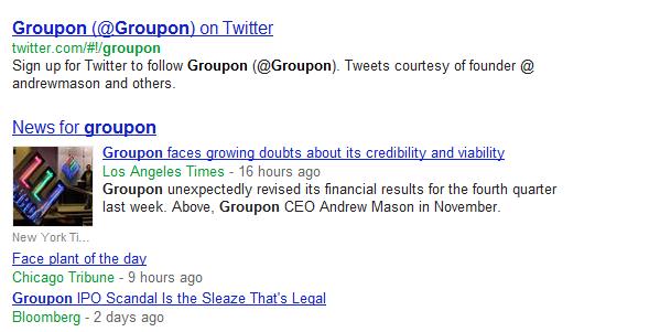 Google News algorithms put the Enron logo next to a story about Groupon